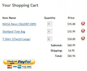 Screenshot of the new NASSA shopping cart